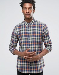 Paul Smith Shirt In Check Tailored Slim Fit Navy Orange Navy