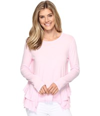 Dylan By True Grit Vintage Soft Cotton Long Sleeve Double Ruffle Tee Summer Pink Women's Clothing