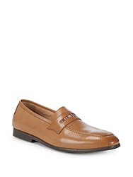 Robert Graham Square Toe Leather Penny Loafers Cognac