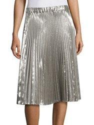 N 21 Metallic Accordion Pleated Skirt Silver