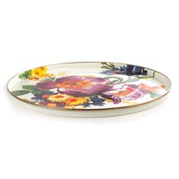 Mackenzie Childs White Flower Market Round Tray
