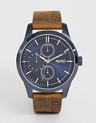 Hugo 1530083 Discover Leather Watch 46Mm Brown
