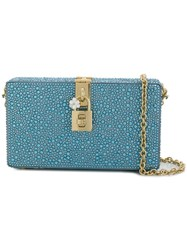 Dolce And Gabbana Box Rhinestone Embellished Clutch Blue