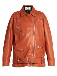 Acne Studios Myrtle Oversized Leather Biker Jacket Pink