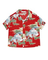 Gucci Short Sleeve Woven Eagle Print Shirt Red Size 12 36 Months Size 24 Months