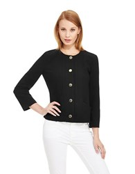 Armani Jeans Classic Cropped Blazer With Ribbed Stitching Black