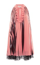 Francesco Scognamiglio Short Sleeve Two Toned Pleated Mini Dress Pink