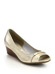Cole Haan Tali Open Toe Low Heeled Metallic Leather Wedges Gold