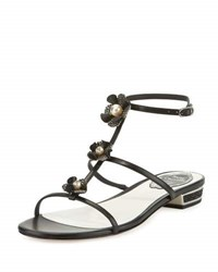 Rene Caovilla Embellished Leather T Strap Sandal Black
