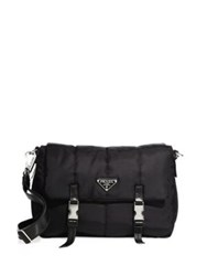 Prada Tessuto Nylon Bomber Messenger Bag Black