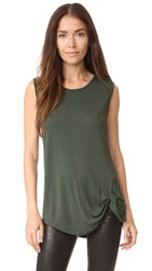 Cupcakes And Cashmere Matthews Tank With Twist Detail Army Green