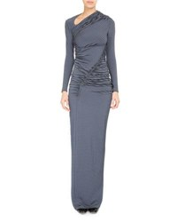 Atlein Striped Dot Ruched Jersey Gown Blue Pattern
