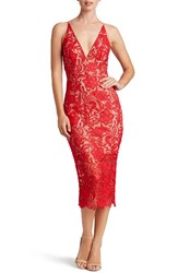 Dress The Population Women's 'Marie' Lace Midi Cherry
