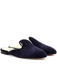 Prada Suede Slippers Blue