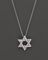 Bloomingdale's Diamond Star Of David Pendant Necklace In 14K White Gold .14 Ct. T.W. White Gold White Diamond