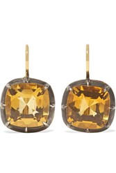 Fred Leighton Collection 18 Karat Gold And Sterling Silver Citrine Earrings