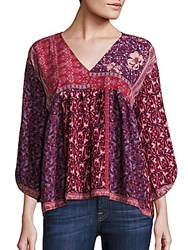 Collective Concepts Printed V Neck Top Red Multi