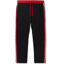 Gucci Tapered Logo Webbing Trimmed Woven Drawstring Trousers Black