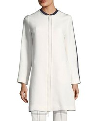 Piazza Sempione Scuba Jersey Long Sleeve Slim Coat With Piping Ivory