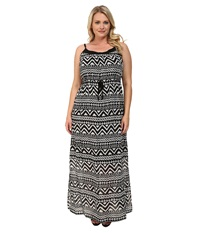 Roper Plus Size 9592 Black White Aztec Print Georgette Dress Black Women's Dress