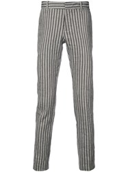 Tom Rebl Striped Skinny Trousers Brown