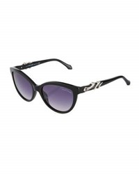 Roberto Cavalli Crystal Snake Wrapped Cat Eye Sunglasses Black