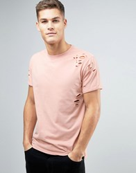 New Look Slub T Shirt With Distressing In Light Pink Light Pink