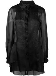 Alberta Ferretti Sheer Panel Blouse Black