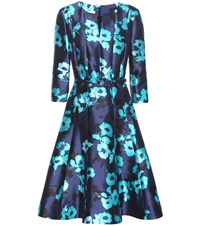 Oscar De La Renta Printed Silk And Cotton Dress Blue