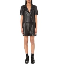 The Kooples Zip Detail Faux Leather Playsuit Black