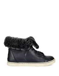 Ugg Leather And Sheepskin Sneakers Black