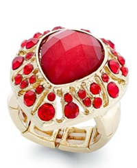 Style And Co. Gold Tone Red Stone Teardrop Stretch Ring