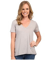The Beginning Of Olivia V Neck High Low Tee Dove Women's Short Sleeve Pullover Beige