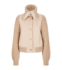 Chloe Fold Over Collar Knit Jacket Pink