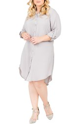Standards And Practices Plus Size Women's Solenn Roll Sleeve Georgette Shirtdress Storm Grey