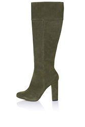 Topshop Bunny Suede Knee High Boots Green