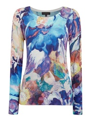 Pied A Terre Blurred Floral Jumper Multi Coloured