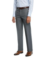 Hickey Freeman Traveler Solid Dress Trousers Gray