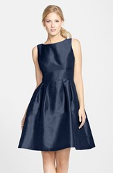 Women's Alfred Sung Dupioni Fit And Flare Dress Midnight