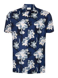 Criminal Festival Floral Short Sleeve Shirt Blue