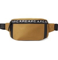 A.P.C. Savile Logo Print Tape Trimmed Tech Canvas Belt Bag Tan