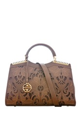 Segolene Paris Laser Cut Vegan Leather Satchel Brown