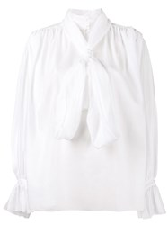 Vika Gazinskaya High Neck Pussy Bow Blouse Women Cotton 40 White