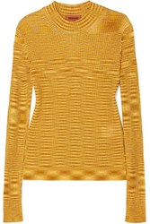 Missoni Striped Ribbed Crochet Knit Sweater Gold