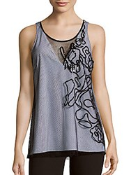 Sachin Babi Strauss Two Tone Embroidered Mesh Tank Top Ivory Black