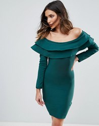 Wow Couture Exaggerated Frill Off Shoulder Mini Bandage Bodycon Dress Emerald Green