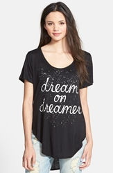 Living Doll 'Dreamer' Graphic High Low Tee Juniors Black
