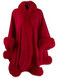 Liska Fox Fur Trim Cape Red