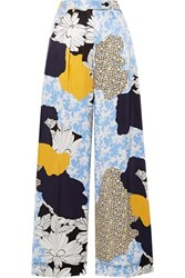By Malene Birger Enil Printed Satin Wide Leg Pants Blue