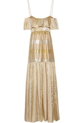 Rachel Zoe Off The Shoulder Metallic Silk Blend Jacquard Maxi Dress Gold